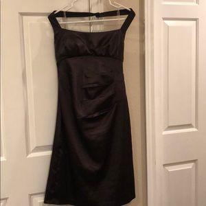 Shiny brown halter dress